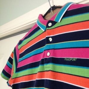 Vintage 90s Fila Sport Multicolor Striped Polo